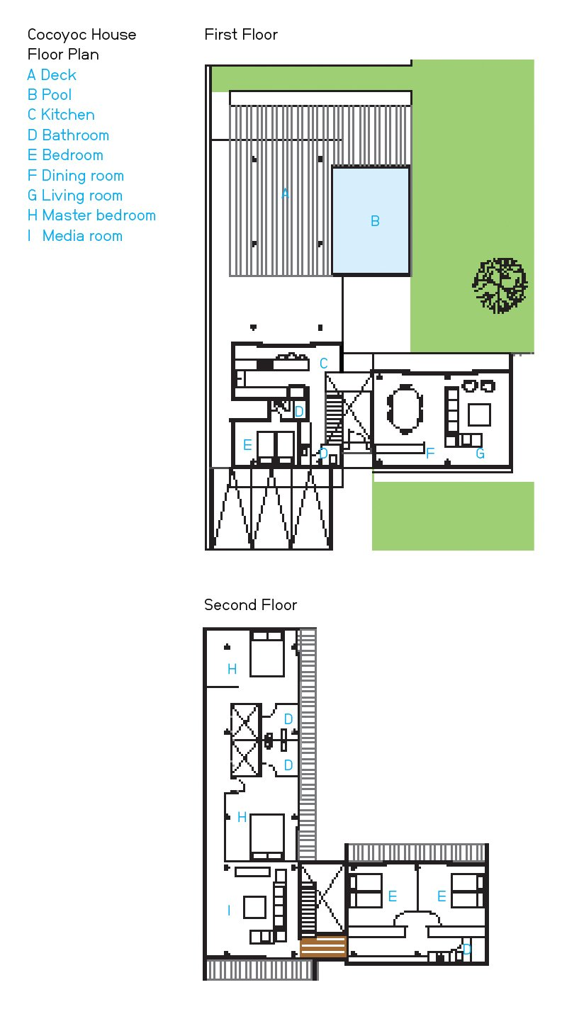 Cocoyoc House Floor Plan  A Deck  B Pool  C Kitchen  D Bathroom  E Bedroom  F Dining room  G Living room  H Master bedroom  I   Media room  Photo 6 of 7 in An Affordable High-Design Vacation Home in Mexico