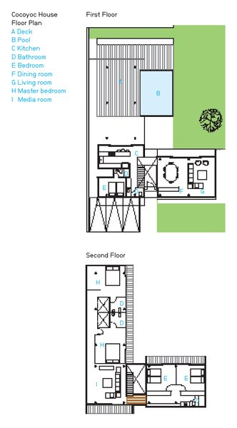 Cocoyoc House Floor Plan  A Deck  B Pool  C Kitchen  D Bathroom  E Bedroom  F Dining room  G Living room  H Master bedroom  I   Media room