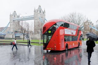 Heatherwick Studio's latest high-visibility designs on view at the Hammer installation will include the 2012 redesign of London's double decker buses, known as the New Routemaster.