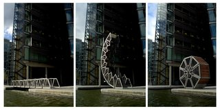 The Rolling Bridge at Grand Union Canal at Paddington Basin, London, opens using a series of hydraulic rams integrated into the balustrade.