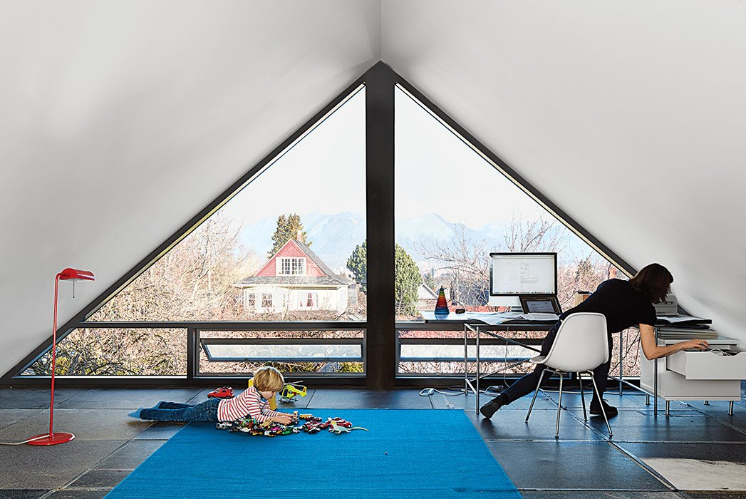 """Office and Study Room Type """"The third floor was a brilliant second or rather third conversation that D'Arcy sketched out in minutes,"""" Waddell says of the playroom-office.  Office from This Bungalow is Anything but Basic"""
