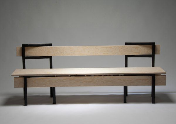 Slagbaenk by Danish designer Rasmus B. Fex is a bench inspired by traditional Scandinavian furniture, based on a simple concept: five boards join two chairs to form a bench with integrated storage space. The size of the bench depends on the dimensions of the boards used.