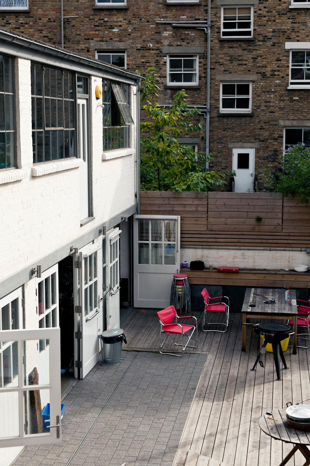 Indoor/outdoor living abounds, with plenty of room for entertaining, especially in the custom courtyard that has held hundreds of guests at many a party.   from A Wheelchair-Accessible Adaptive Reuse Project in London