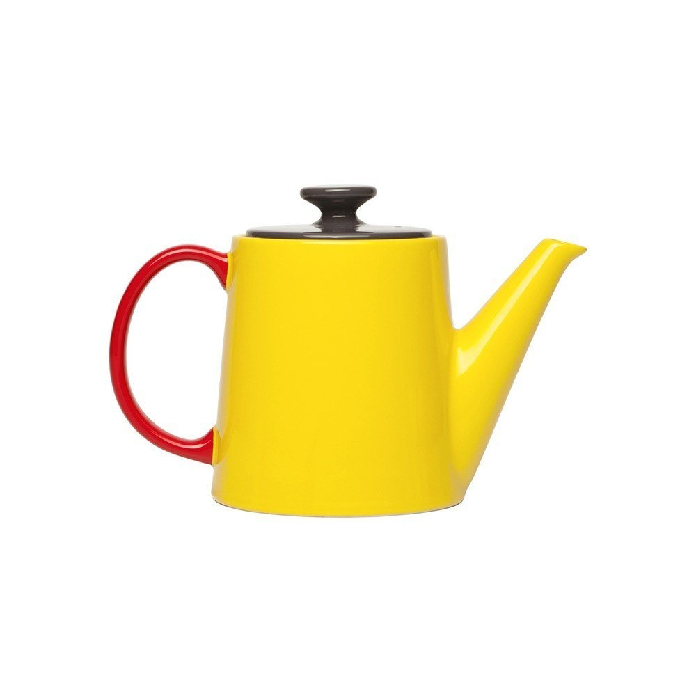 """With primary colors and a classic shape, this pot is a throwback to childhood tea parties with a grown-up sensibility. $65 from store.dwell.com.  Search """"jansen co my mug espresso saucer"""" from Colorful Kitchen Accessories for Under $100"""