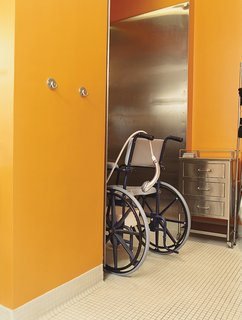 Architects Andy Bernheimer and Jared Della Valle, of Brooklyn's Della Valle Bernheimer, came up with creative solutions to help David Carmel, who was paralyzed from the waist down in a driving accident, move around comfortably in his wheelchair throughout his Chelsea apartment. The bathroom has a roll-in shower and a sliding door made of Lumasite, a translucent acrylic that resembles rice paper. The architects bolted the Lumasite to an aluminum frame, but it can also be glued to wood, for a shoji screenlike effect. For extra stiffness, the architects glued two sheets of Lumasite together. Finding the right glue required a lot of trial and error, Della Valle recalls—which may explain why the manufacturer now sells double-thick sheets. Read the whole story here.
