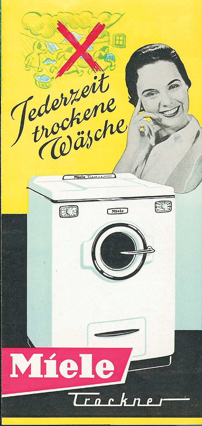 1958 - Miele opens a new chapter in the history of laundry care with the first domestic tumble dryer.  Photo 5 of 7 in Miele Through the Years: Q&A with Markus Miele & Reinhard Zinkann