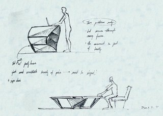 An early hand-drawn sketch of what would become the Kabu standing desk.