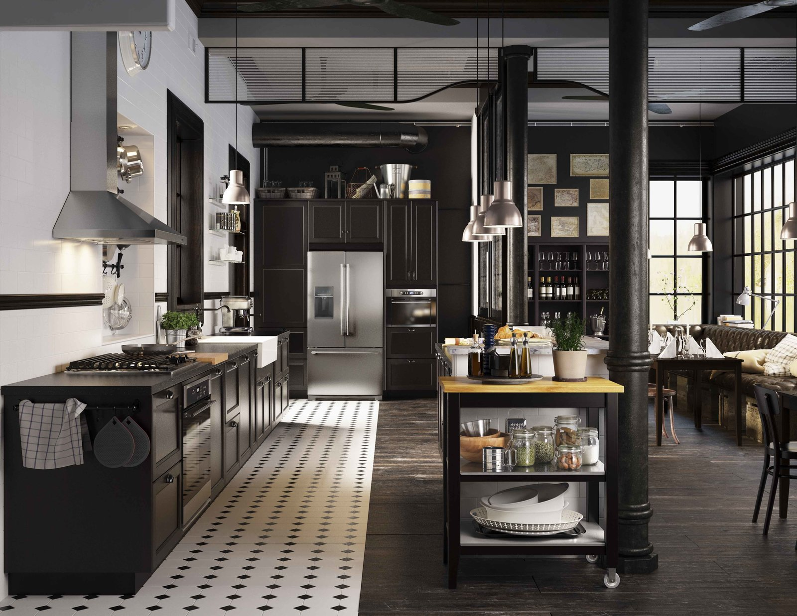 modern kitchen designs black and white tiles