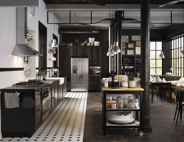 Black and white kitchen tiles add visual interest to this stunning modern kitchen by IKEA.