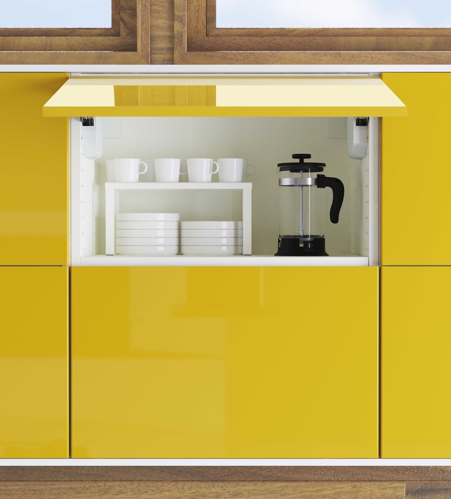 Kitchen and Colorful Cabinet Overhead cabinets now can be easily swung open for ease of access. The kitchens are priced at IKEA's usual retails. A 10 by 10 foot kitchen fitted with Sektion cabinets will range from around $1,300 to $2,200, excluding appliances.  Photos from You Can Now Build Your Entire Kitchen with IKEA (Appliances Too!)