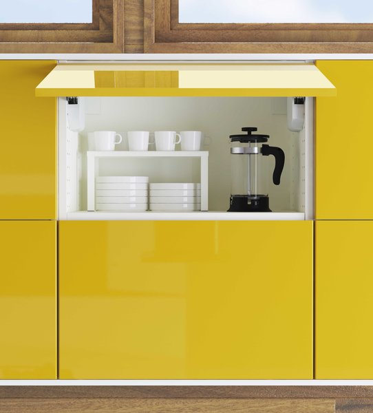 Overhead cabinets now can be easily swung open for ease of access. The kitchens are priced at IKEA's usual retails. A 10 by 10 foot kitchen fitted with Sektion cabinets will range from around $1,300 to $2,200, excluding appliances.