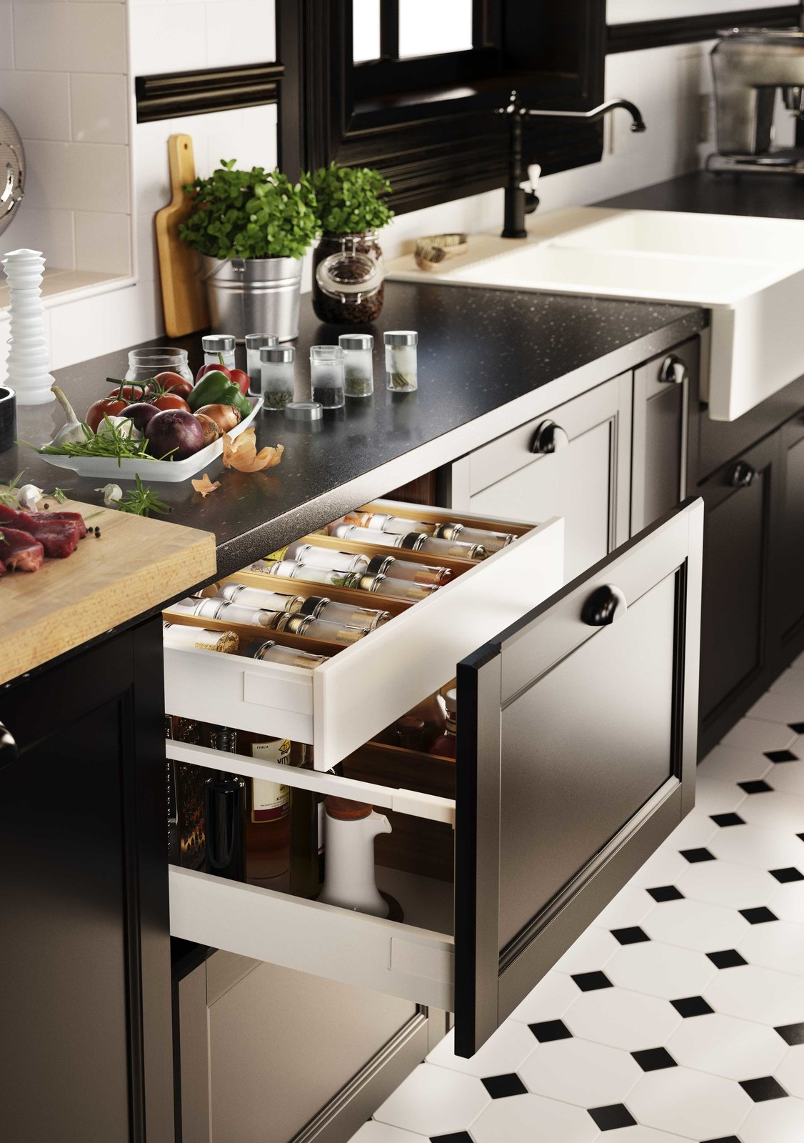 Kitchen, Drop In Sink, Vessel Sink, Subway Tile Backsplashe, and Ceramic Tile Floor More traditional cabinet cup pulls from Ikea can still have a modern sensibility when paired with other sleek finishes.  Photo 6 of 7 in You Can Now Build Your Entire Kitchen with IKEA (Appliances Too!)