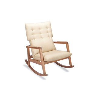 The Risom Rocker (2009) has a nine-button tufted back; a nod toward the classic Danish modern aesthetic that can be found in all of Risom's work. Made in U.S.A. Contact DWR for details