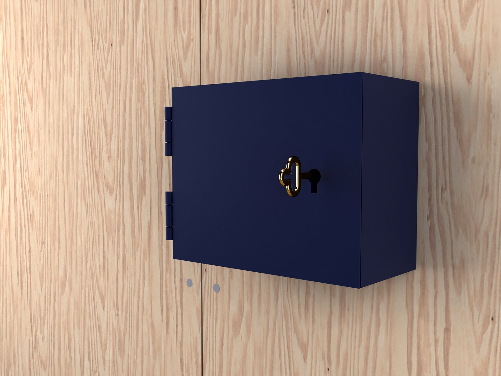 Architect and designer Jonas Wagell has drawn inspiration from bank safe deposit boxes for his key cabinet Vault for Designtorget. The frame is in color-coated steel, while the brass handle is shaped like a old-fashioned key.  On the Scene at Stockholm Design Week 2013 by Marianne Johnsgård
