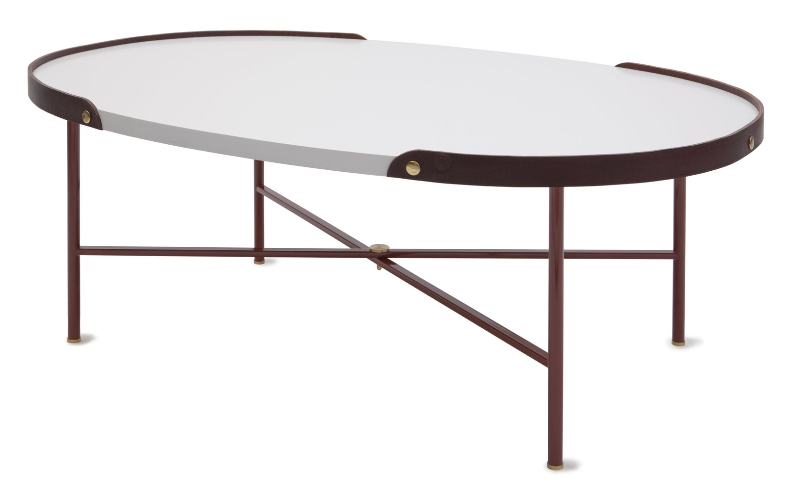 A dark brown leather edge runs around the Rink table by Eva Schildt for manufacturer Klong. The designer combines a metal frame, colored the same brown hue as the leather, with white stained ash tabletop and brass detailing.  On the Scene at Stockholm Design Week 2013 by Marianne Johnsgård