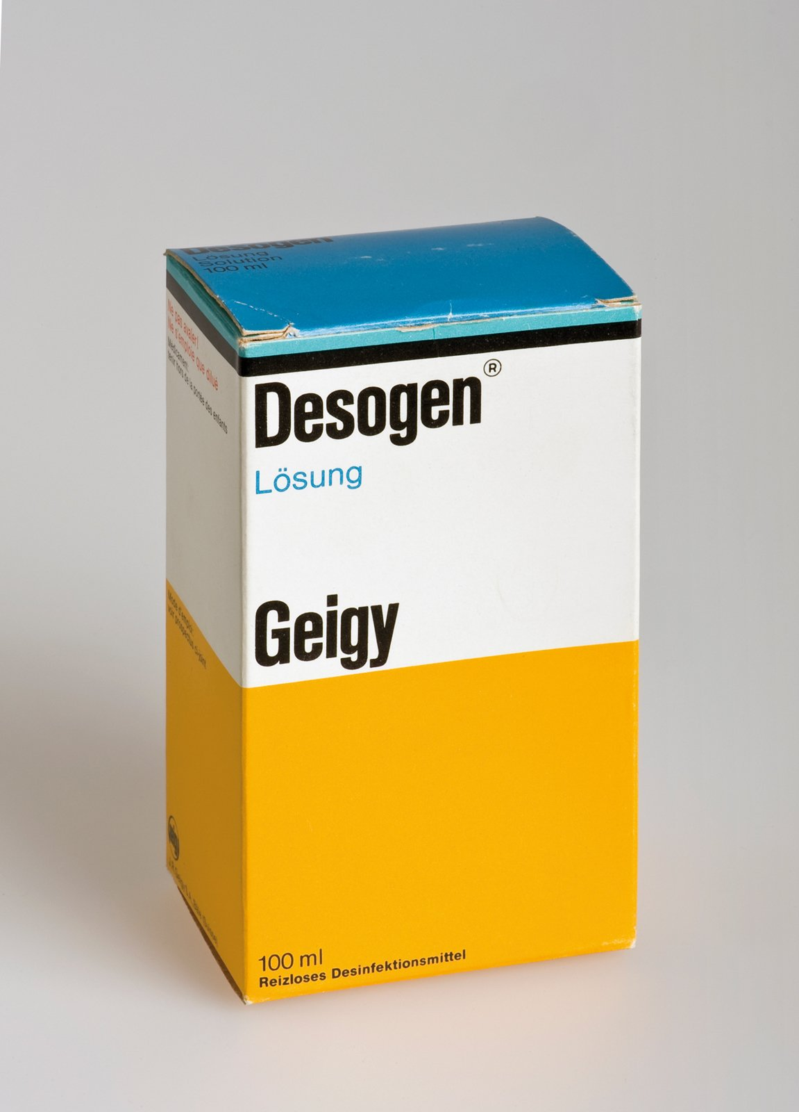 By the 60s, the packaging for all of Geigy's medications came with the identifying stripe and color blocks. Suddenly pharmacy shelves could be read as full of Geigy products from across the store. Max Schmid did the design.  Geigy's Graphic Design  by Dwell