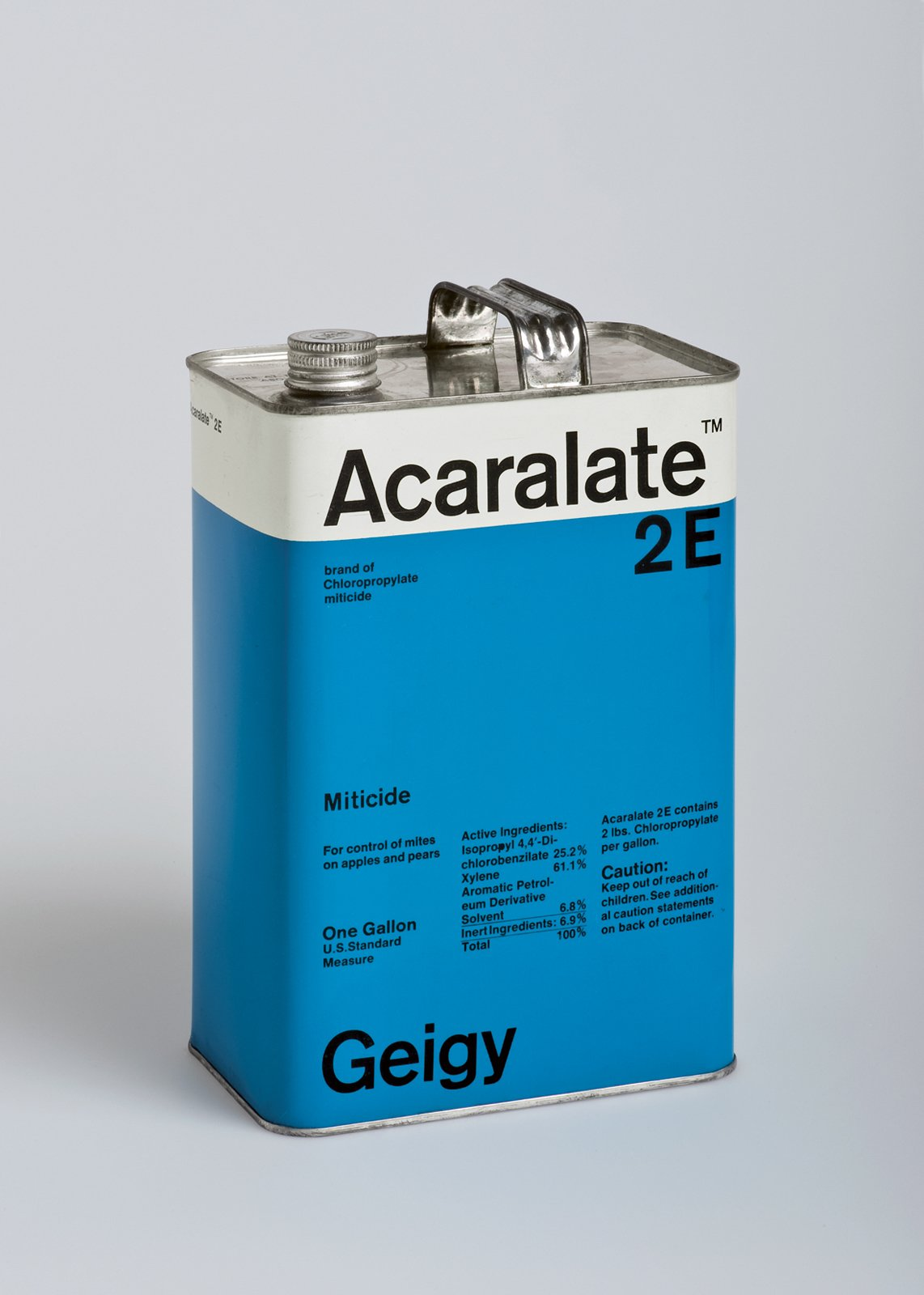 This Acaralete 2E cannister by Markus Löw played with the same motif found in Schmid's medicine packaging.  Geigy's Graphic Design  by Dwell