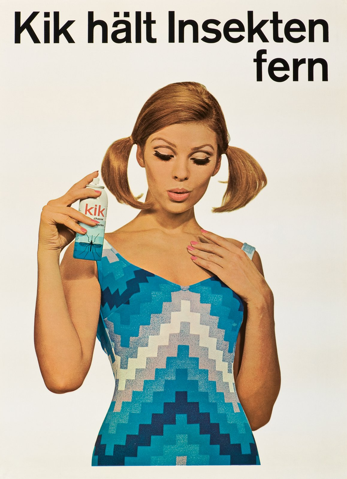 """In English this poster reads: """"Kik keeps insects at a distance."""" Bug repellents such as Kik were popular Geigy products. Note the geometry of the woman's dress, a classically Swiss embrace of the grid.  Geigy's Graphic Design  by Dwell"""