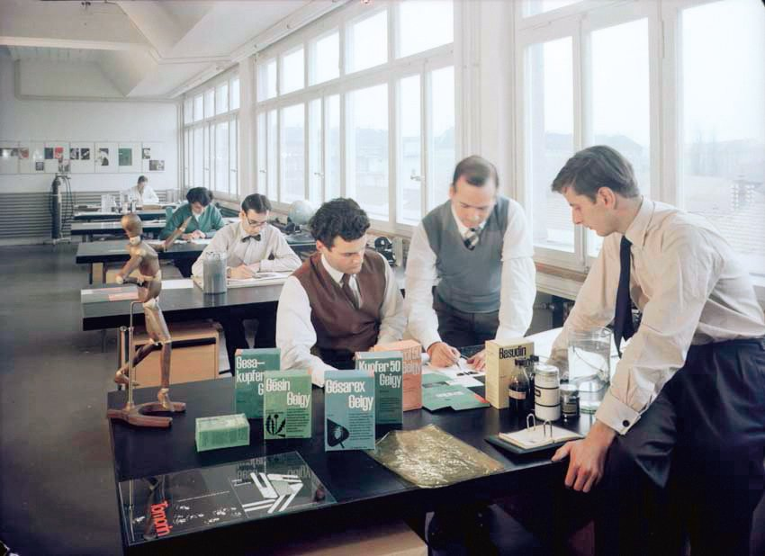 This is a glimpse inside Geigy's propaganda department of designers Andreas His, Max Schmid, Igildo Biesele, Enzo Roesli and Elisabeth Dietschi and Kurt Küng. Photo taken by Max Mathys from 1954.  Geigy's Graphic Design  by Dwell