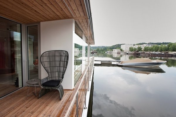 """""""It's oriented for the river,"""" says architect Adam Jirkal. """"It doesn't have an engine. We wanted it to be as low to the water as possible, to really work with the water."""""""