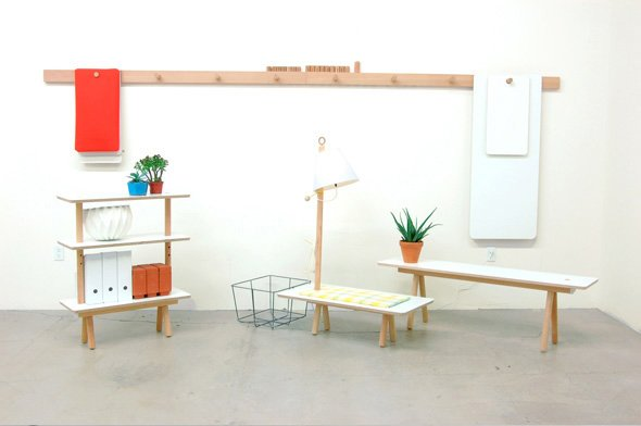 The Peg Series is a flexible furniture system made up of simple components, which can be assembled in a variety of ways to accommodate a multitude of scenarios. When not in use, the pieces hang flat against the wall.  Perfect Pieces for Small Space Living by Megan Hamaker