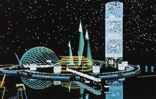 Bernard Tschumi's perspective drawing for a Spartan Villa.  Architecture Meets Tron in These Retro-Futuristic CAD Drawings by Josh Conrad