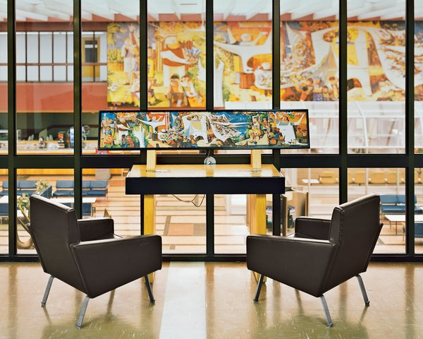 "Gander's lounge sports a 69-foot-long, 12-foot-tall mural by Canadian artist Kenneth Lochhead, overlooked by Christen Sorensen armchairs.  Search ""canada"" from Aviation Preservation"