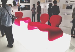 A trio of Djinn Chairs by French designer Olivier Mourgue from 2001: A Space Odyssey (1968), lay atop light boxes.