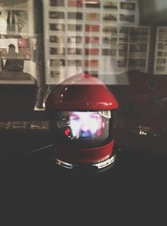 An animation by Andy Featherston plays inside David Bowman (played by Keir Dullea)'s original helmet from 2001: A Space Odyssey (1968).
