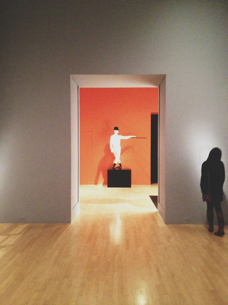Outside view of the A Clockwork Orange (1971) section of the exhibition.