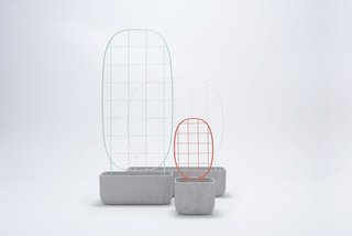 Plantrellis planter for Berga Form – A collection of outdoor furniture consisting of three concrete planters and three versatile metal trellises that can be mixed-and-matched to serve as support for climbing plants. Photo courtesy of: Berga