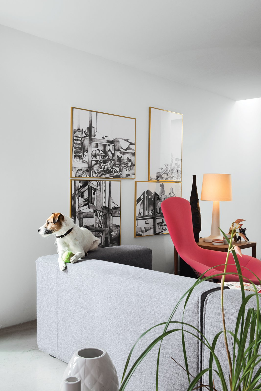 Living Room, Concrete Floor, Lamps, Chair, and Sofa Ibbel, a Parson Russell terrier, and his tennis ball survey the living room from the back of a Cuba sofa by Rodolfo Dordoni for Cappellini. The framed drawings are by Poorter and Holdrinet.  Photo 18 of 25 in Leap Into the Year of the Dog With These 25 Pups in the Modern World from This Factory Switches Out Cattle-Fodder for Furniture