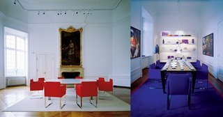 Interiors of Schloss Harkotten, showcasing Sieger Design's furniture and tabletop pieces (right).