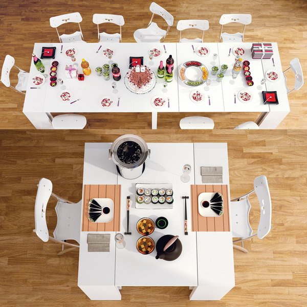 Sided in smart white lacquer and topped with glass, this four-in-one dining table by Ozzio seamlessly transitions from a casual dinner to a feast for 12.