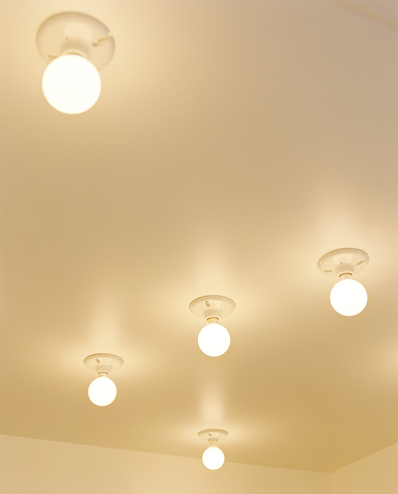 In the kitchen, compact fluorescent lightbulbs affixed to the ceiling are a simple solution.  New Grass Roots by Dwell