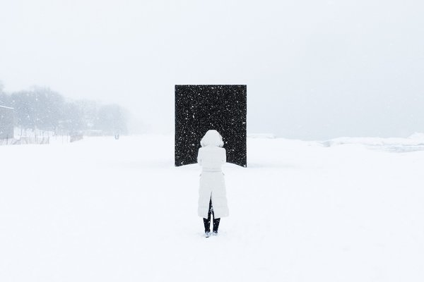 HotBox: Michaela MacLeod and Nicholas Croft (Toronto)  A mysterious monolith on the landscape, this warming hut, a cubic room wrapped in rubber and egg shell crate foam, provides a space for socialization.