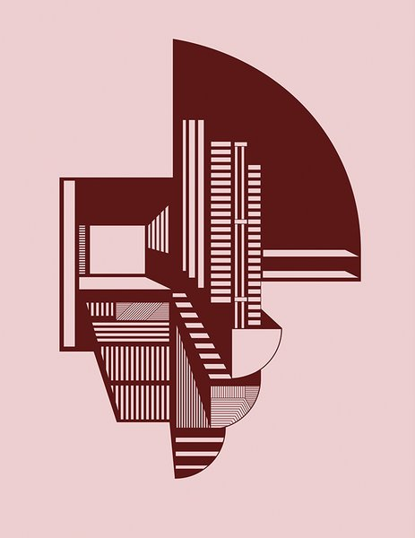 """The Abstraction A4 print is based on multiple hand drawings Dam created while studying architect and furniture maker Finn Juhl's oeuvre. """"Other Danish designers of his time were more geometric in the way they worked, but Juhl managed to create simple pieces with curved lines,"""" she says."""