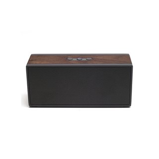 PWS Wireless Speaker by Grain Audio, $249 at store.dwell.com  Made with solid walnut with neutral graphite speaker grills and buttons, the PWS is small enough to fit in a backpack but produces enough clean, potent sound to fill a room.