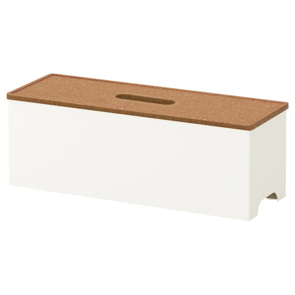 Kvissle cable-management box by Ikea, $10 at ikea.com  This minimalist, unassuming steel box with a cork lid can keep all of your tangled cords from cluttering your workspace.