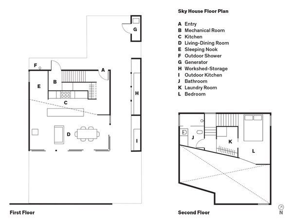 Sky House Floor Plan  A    Entry  B    Mechanical Room   C    Kitchen  D    Living-Dining Room  E    Sleeping Nook  F    Outdoor Shower  G    Generator  H    Workshed-Storage  I    Outdoor Kitchen  J    Bathroom  K    Laundry Room  L    Bedroom