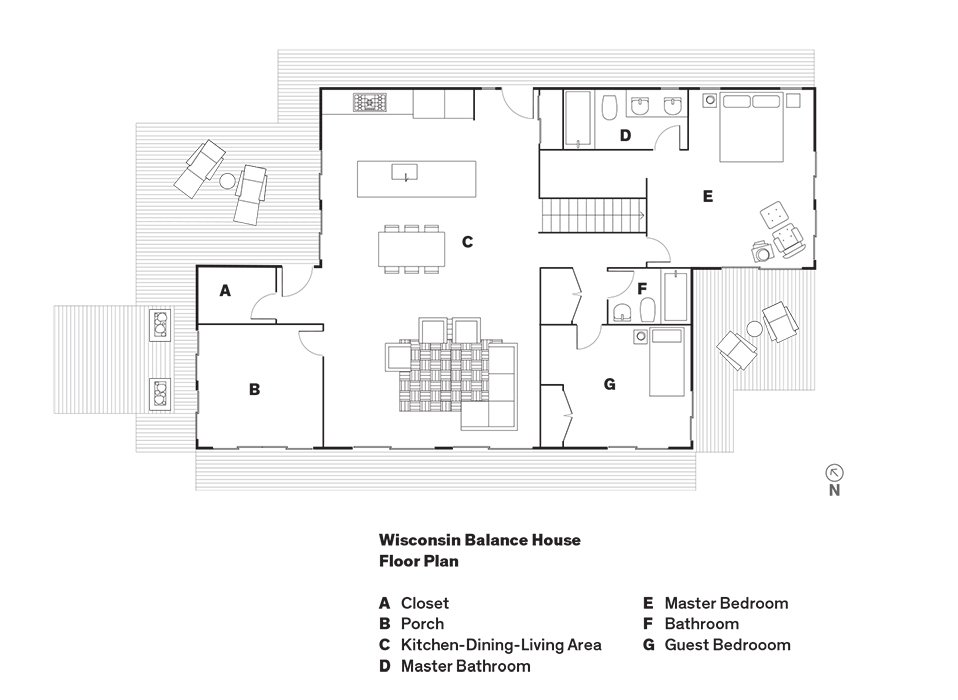 Wisconsin Balance House   Floor Plan  A    Closet  B    Porch  C    Kitchen-Dining-Living Area  D    Master Bathroom  E    Master Bedroom  F    Bathroom  G    Guest Bedrooom  Photo 8 of 8 in Grandson of Frank Lloyd Wright Constructs Peaceful Prefab Near the Legend's Famed School