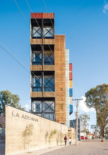 La Aduana is an eight-unit apartment building in León, Mexico, made from 36 shipping containers.