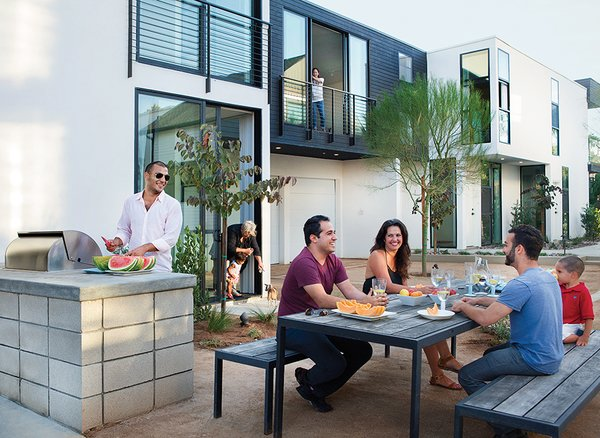In San Diego, brothers Nima and Soheil Nakhshab built Sofia Lofts, a multigenerational micro-community with 16 units ranging from 600 to 1,000 square feet designed to accommodate tenants of all ages and abilities.
