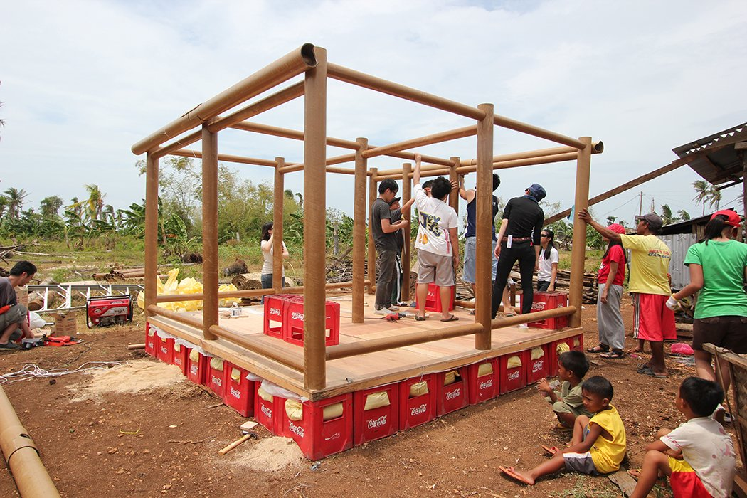 The construction was carried out in cooperation with students from the University of San Carlos in Cebu.  Photo 1 of 5 in Shigeru Ban Designs Temporary, Easy-to-Build Shelters for Disaster-Prone Areas