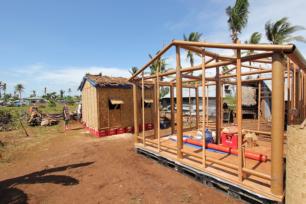 Ban designed the framing phase to be efficient and quick—the structures can be put up in a matter of hours.  Photo 5 of 5 in Shigeru Ban Designs Temporary, Easy-to-Build Shelters for Disaster-Prone Areas