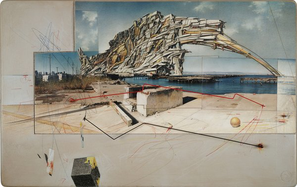 Lebbeus Woods, San Francisco Project: Inhabiting the Quake, Quake City, 1995; graphite and pastel on paper; 14 1/2 in. x 23 in. x 3/4 in. (36.83 cm x 58.42 cm x 1.91 cm); Collection SFMOMA, Accessions Committee Fund purchase; © Estate of Lebbeus Woods