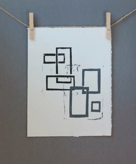 Black and Gray squares linocut Mid Century Modern art poster, 16 x 20 inches, $125
