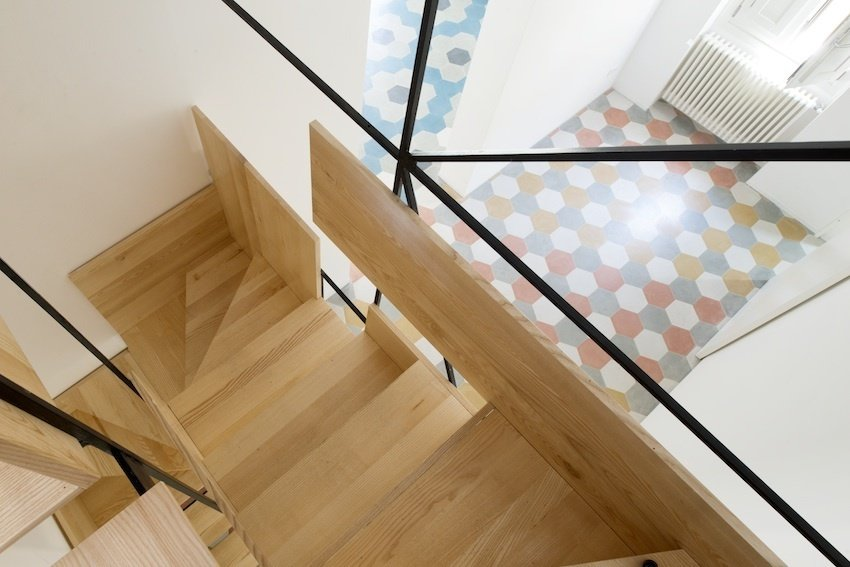 An aerial view of Librizzi's layered staircase shows how the wood steps are pieced together.  190+ Best Modern Staircase Ideas from A Mind-Blowing, Mondrian-Esque Staircase