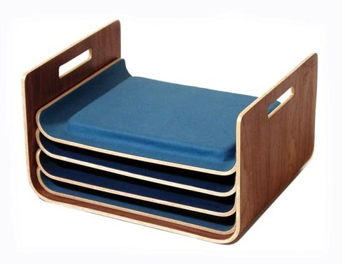 Seating Trays made of plywood, walnut veneer, cast silicone, and felt.