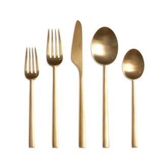 Stainless steel may be the modern flatware standard, but warm-toned metals are making a comeback and we love this line designed by Cutipol, a Portuguese company schooled in the fine art of cutlery craftsmanship.